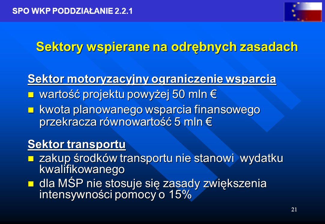 SPO WKP PODDZIAŁANIE 2.2.1 21 Sektory wspierane na odrębnych zasadach Sektor motoryzacyjny ograniczenie wsparcia wartość projektu powyżej 50 mln wartość projektu powyżej 50 mln kwota planowanego wsparcia finansowego przekracza równowartość 5 mln kwota planowanego wsparcia finansowego przekracza równowartość 5 mln Sektor transportu zakup środków transportu nie stanowi wydatku kwalifikowanego zakup środków transportu nie stanowi wydatku kwalifikowanego dla MŚP nie stosuje się zasady zwiększenia intensywności pomocy o 15% dla MŚP nie stosuje się zasady zwiększenia intensywności pomocy o 15%