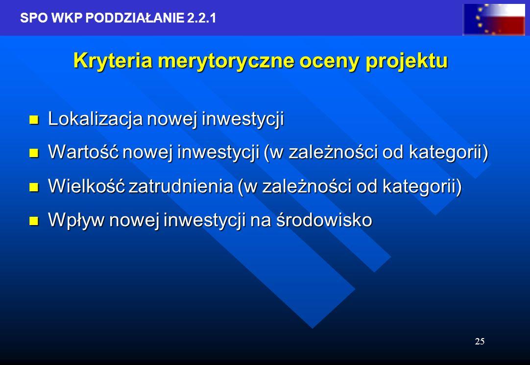 SPO WKP PODDZIAŁANIE 2.2.1 25 Kryteria merytoryczne oceny projektu Lokalizacja nowej inwestycji Lokalizacja nowej inwestycji Wartość nowej inwestycji (w zależności od kategorii) Wartość nowej inwestycji (w zależności od kategorii) Wielkość zatrudnienia (w zależności od kategorii) Wielkość zatrudnienia (w zależności od kategorii) Wpływ nowej inwestycji na środowisko Wpływ nowej inwestycji na środowisko