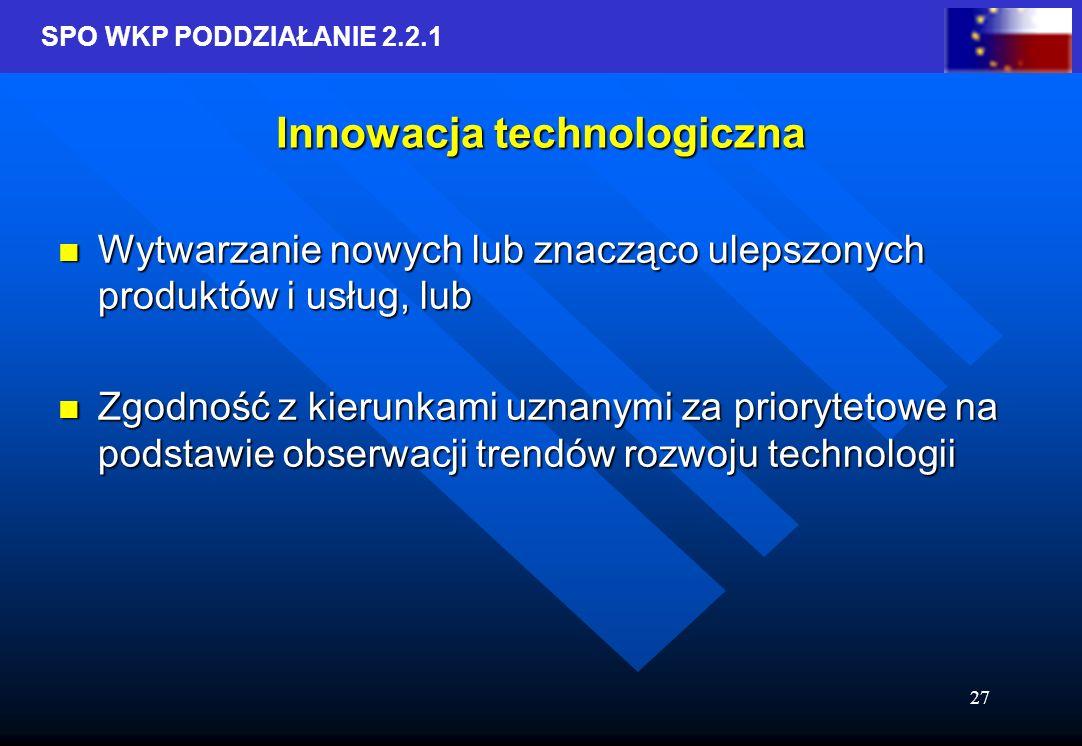 SPO WKP PODDZIAŁANIE 2.2.1 27 Innowacja technologiczna Wytwarzanie nowych lub znacząco ulepszonych produktów i usług, lub Wytwarzanie nowych lub znacząco ulepszonych produktów i usług, lub Zgodność z kierunkami uznanymi za priorytetowe na podstawie obserwacji trendów rozwoju technologii Zgodność z kierunkami uznanymi za priorytetowe na podstawie obserwacji trendów rozwoju technologii