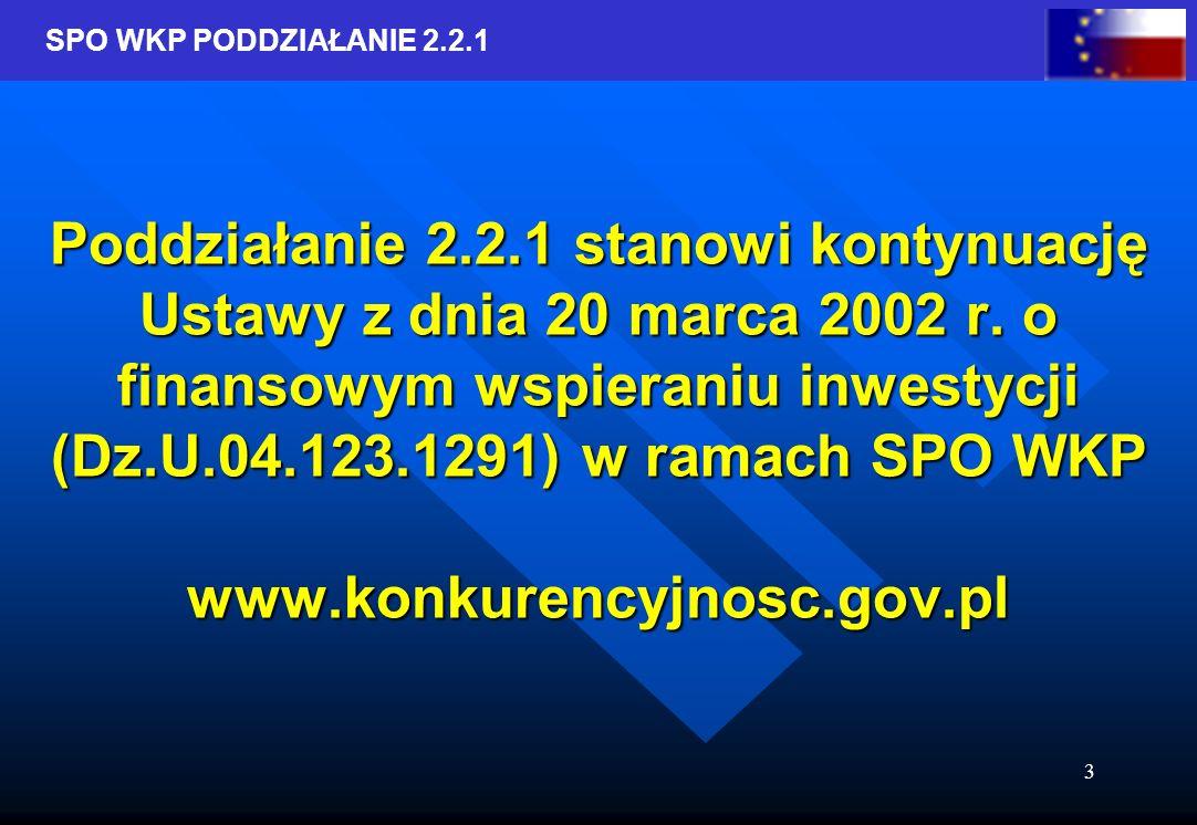 SPO WKP PODDZIAŁANIE 2.2.1 3 Poddziałanie 2.2.1 stanowi kontynuację Ustawy z dnia 20 marca 2002 r.