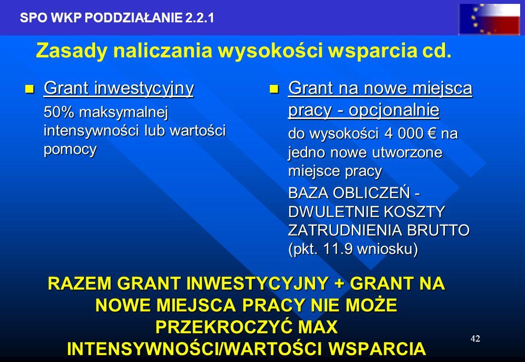 SPO WKP PODDZIAŁANIE 2.2.1 42 RAZEM GRANT INWESTYCYJNY + GRANT NA NOWE MIEJSCA PRACY NIE MOŻE PRZEKROCZYĆ MAX INTENSYWNOŚCI/WARTOŚCI WSPARCIA Grant inwestycyjny Grant inwestycyjny 50% maksymalnej intensywności lub wartości pomocy Grant na nowe miejsca pracy - opcjonalnie do wysokości 4 000 na jedno nowe utworzone miejsce pracy BAZA OBLICZEŃ - DWULETNIE KOSZTY ZATRUDNIENIA BRUTTO (pkt.