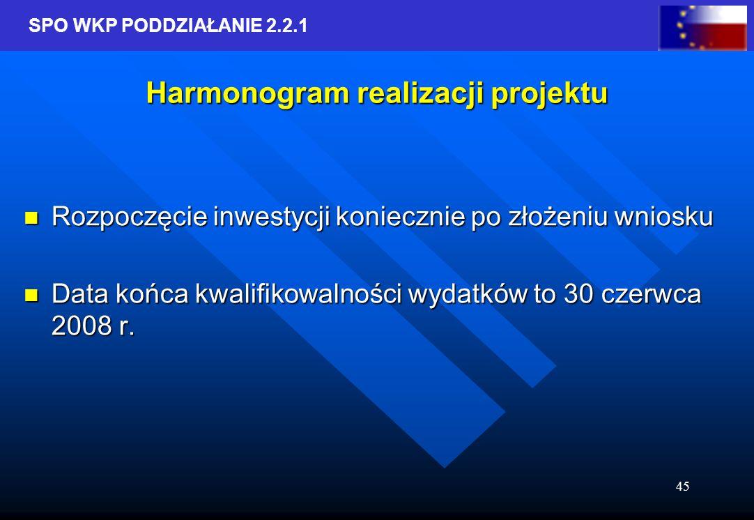 SPO WKP PODDZIAŁANIE 2.2.1 45 Harmonogram realizacji projektu Rozpoczęcie inwestycji koniecznie po złożeniu wniosku Rozpoczęcie inwestycji koniecznie po złożeniu wniosku Data końca kwalifikowalności wydatków to 30 czerwca 2008 r.