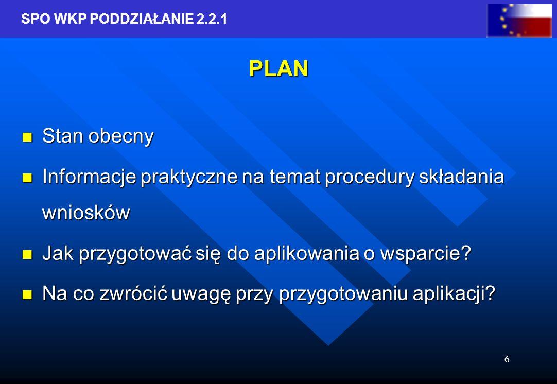 SPO WKP PODDZIAŁANIE 2.2.1 6 PLAN Stan obecny Stan obecny Informacje praktyczne na temat procedury składania wniosków Informacje praktyczne na temat procedury składania wniosków Jak przygotować się do aplikowania o wsparcie.