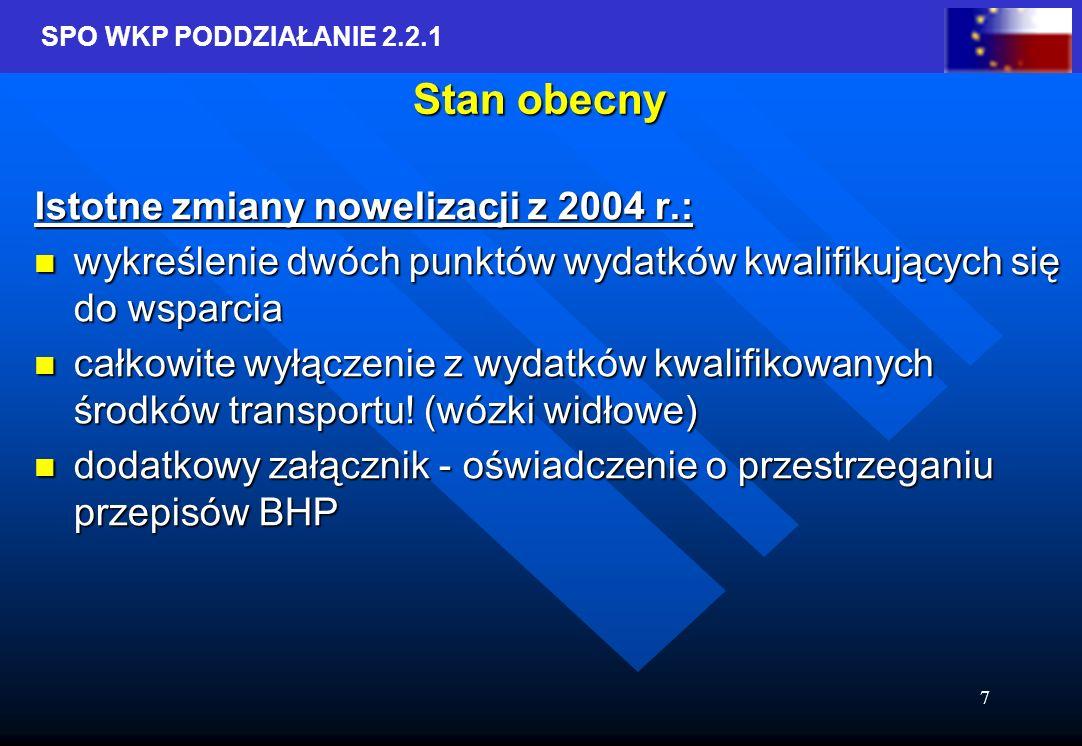 SPO WKP PODDZIAŁANIE 2.2.1 8 Stan obecny Proces podpisywania umów o dofinansowanie z rund 2004 i styczniowej 2005 Proces podpisywania umów o dofinansowanie z rund 2004 i styczniowej 2005 Trwa proces oceny wniosków rundy czerwcowej 2005 Trwa proces oceny wniosków rundy czerwcowej 2005