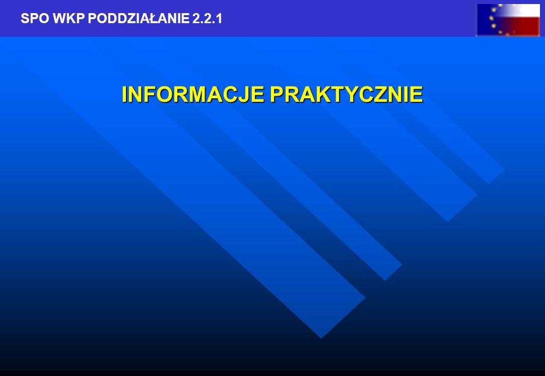 SPO WKP PODDZIAŁANIE 2.2.1 Termin składania wniosków w 2005 r.