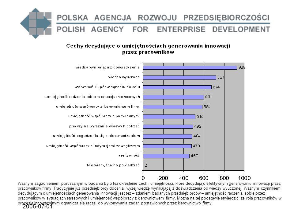 2005-07-01 Ważnym zagadnieniem poruszanym w badaniu było też określenie cech i umiejętności, które decydują o efektywnym generowaniu innowacji przez p