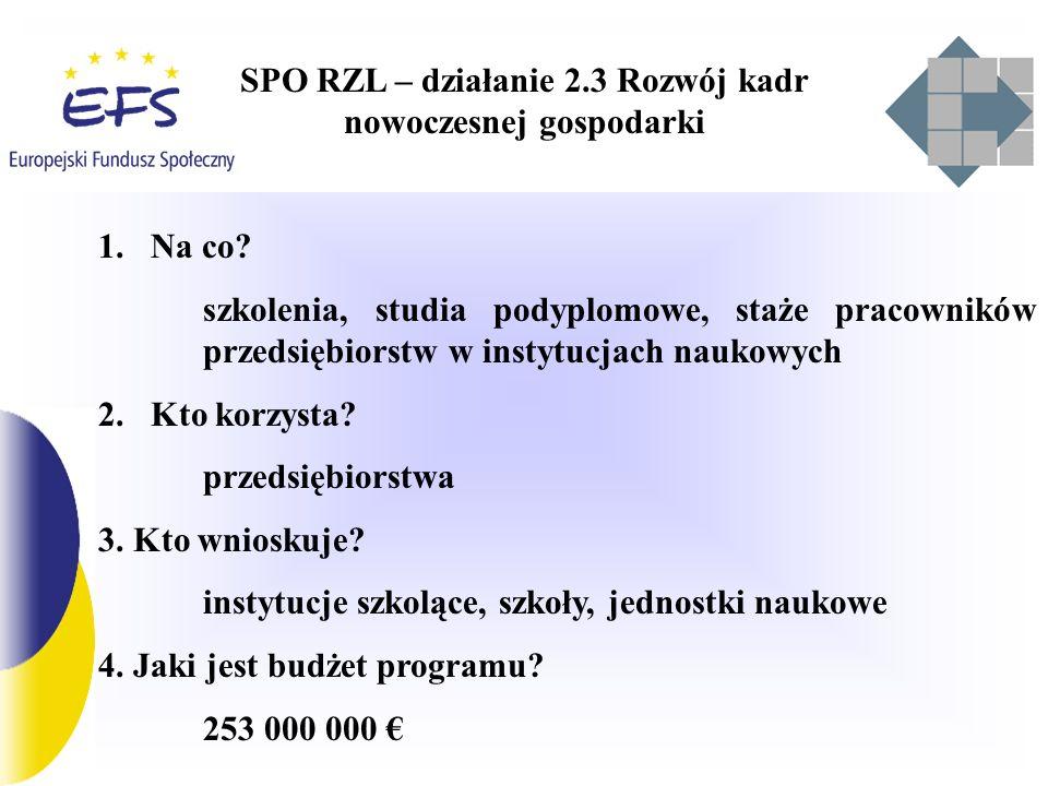 SPO RZL – działanie 2.3 wnioski na przyszłość 1.Koncentracja pomocy na wybranych, strategicznych dziedzinach kształcenia powiązanych z programami podniesienia konkurencyjności gospodarki i upowszechnienia technologii informatycznych 2.Programy pomocowe oparte na ewaluacji realizowanych w okresie 2004-2006 3.Powiązanie projektu ze strategią firmy 4.Bezpośrednie wnioskowanie przez duże firmy i przez instytucje szkoleniowe w imieniu MSP oraz w zakresie studiów i staży 5.Zmiana procedur kontraktowania – zaczynamy od wniosku 6.Uproszczenie procedur wdrażania i rozliczania 7.Upowszechnianie dobrych praktyk 8.Czy decentralizować programy szkoleniowe dla firm?