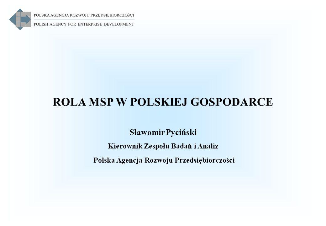 ROLA MSP W POLSKIEJ GOSPODARCE Sławomir Pyciński Kierownik Zespołu Badań i Analiz Polska Agencja Rozwoju Przedsiębiorczości