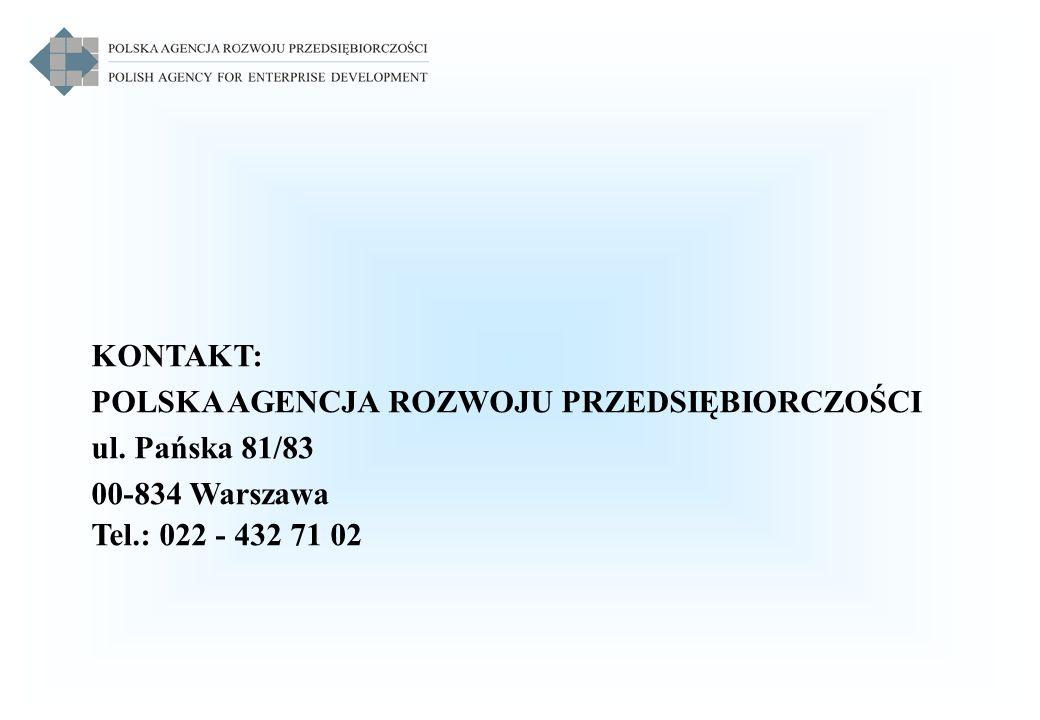 KONTAKT: POLSKA AGENCJA ROZWOJU PRZEDSIĘBIORCZOŚCI ul. Pańska 81/83 00-834 Warszawa Tel.: 022 - 432 71 02