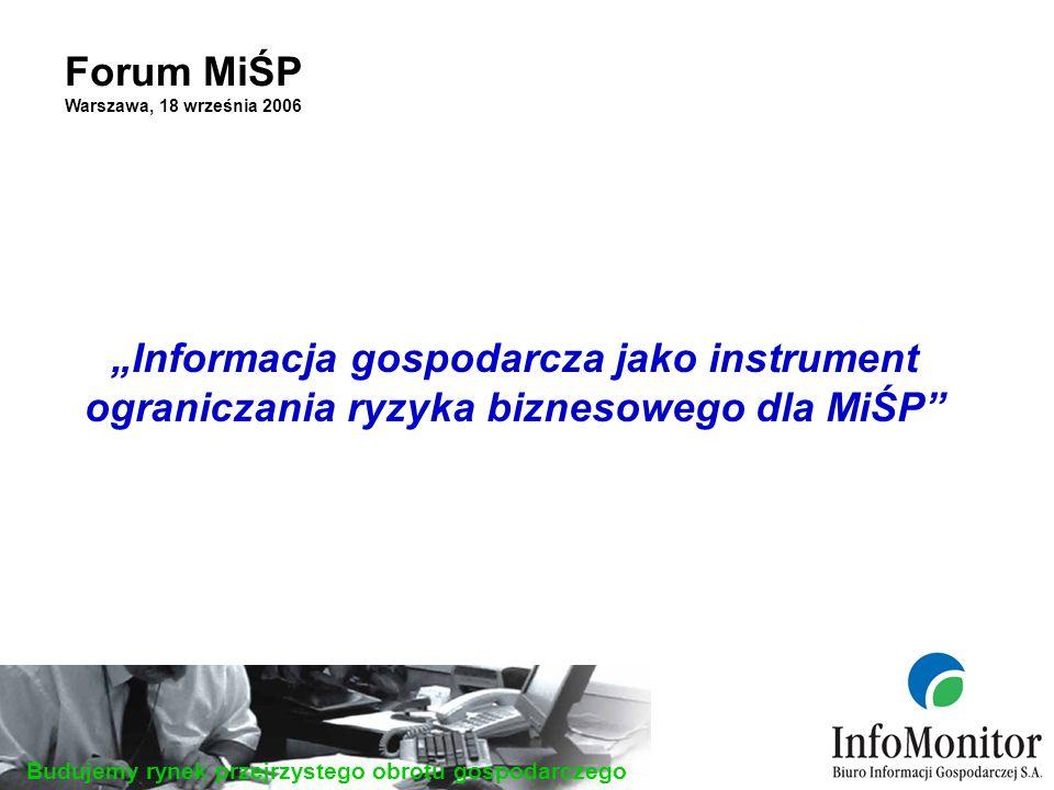 Budujemy rynek przejrzystego obrotu gospodarczego Forum MiŚP Warszawa, 18 września 2006 Informacja gospodarcza jako instrument ograniczania ryzyka biznesowego dla MiŚP