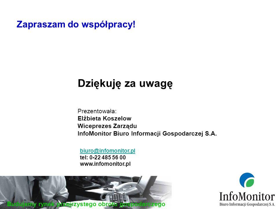 Budujemy rynek przejrzystego obrotu gospodarczego Dziękuję za uwagę Prezentowała: Elżbieta Koszelow Wiceprezes Zarządu InfoMonitor Biuro Informacji Gospodarczej S.A.