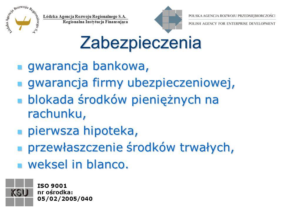 Łódzka Agencja Rozwoju Regionalnego S.A. Regionalna Instytucja Finansująca ISO 9001 nr ośrodka: 05/02/2005/040 Zabezpieczenia gwarancja bankowa, gwara