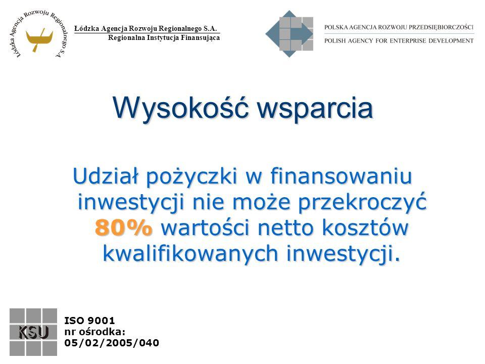 Łódzka Agencja Rozwoju Regionalnego S.A. Regionalna Instytucja Finansująca ISO 9001 nr ośrodka: 05/02/2005/040 Wysokość wsparcia Udział pożyczki w fin
