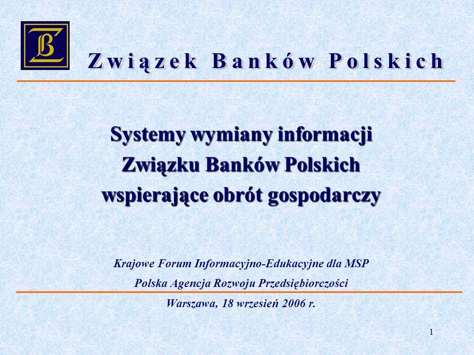 1 Systemy wymiany informacji Związku Banków Polskich wspierające obrót gospodarczy Krajowe Forum Informacyjno-Edukacyjne dla MSP Polska Agencja Rozwoj