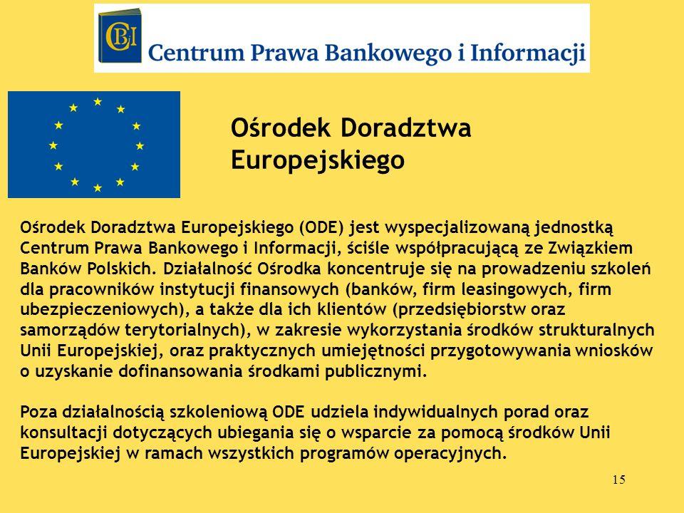 15 Ośrodek Doradztwa Europejskiego Ośrodek Doradztwa Europejskiego (ODE) jest wyspecjalizowaną jednostką Centrum Prawa Bankowego i Informacji, ściśle