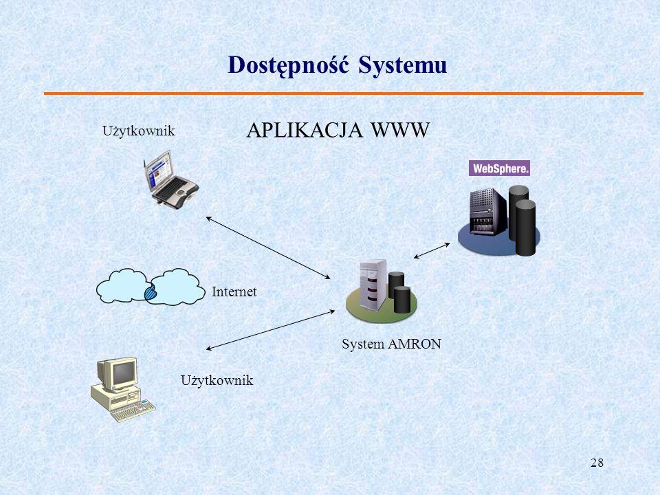 28 Dostępność Systemu System AMRON Internet Użytkownik APLIKACJA WWW