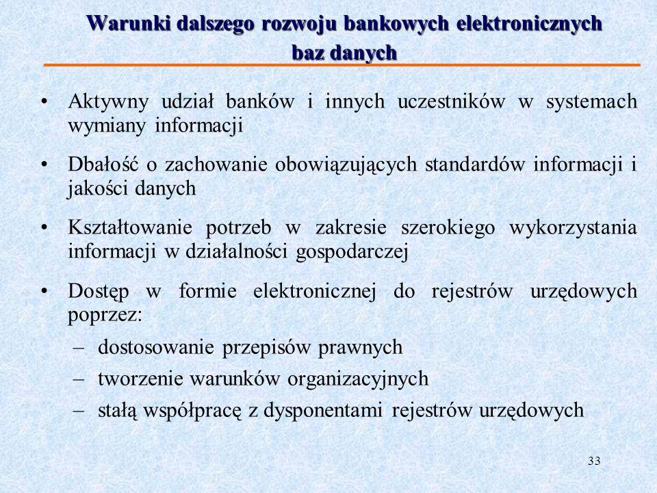 33 Warunki dalszego rozwoju bankowych elektronicznych baz danych Aktywny udział banków i innych uczestników w systemach wymiany informacji Dbałość o z