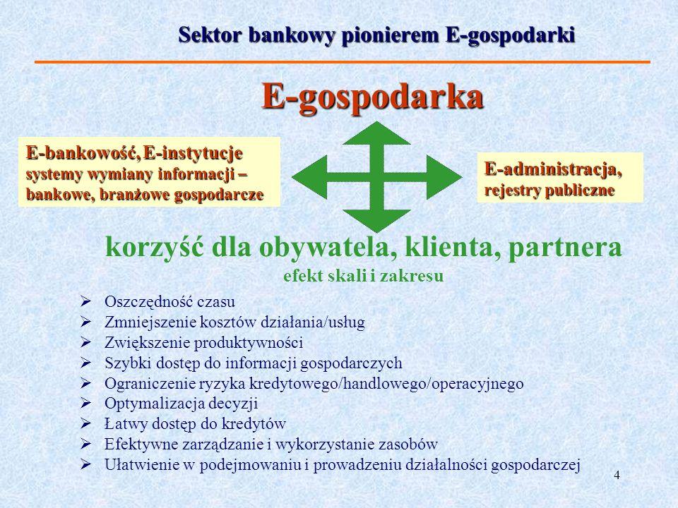4 Sektor bankowy pionierem E-gospodarki Oszczędność czasu Zmniejszenie kosztów działania/usług Zwiększenie produktywności Szybki dostęp do informacji