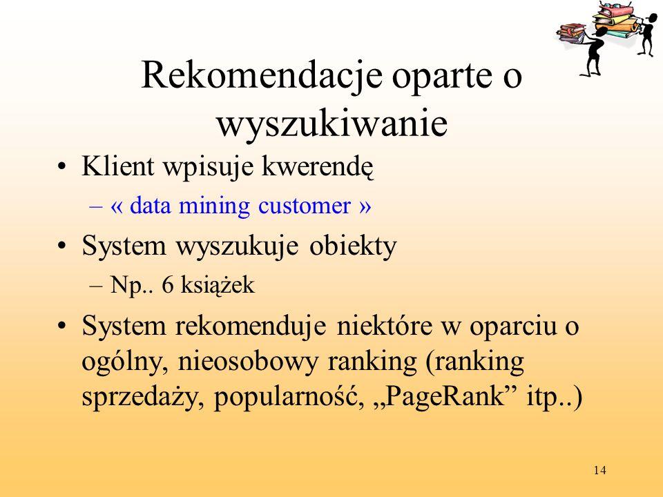 14 Rekomendacje oparte o wyszukiwanie Klient wpisuje kwerendę –« data mining customer » System wyszukuje obiekty –Np.. 6 książek System rekomenduje ni