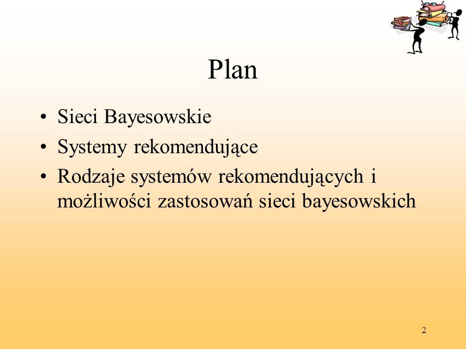2 Plan Sieci Bayesowskie Systemy rekomendujące Rodzaje systemów rekomendujących i możliwości zastosowań sieci bayesowskich