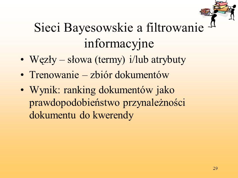 29 Sieci Bayesowskie a filtrowanie informacyjne Węzły – słowa (termy) i/lub atrybuty Trenowanie – zbiór dokumentów Wynik: ranking dokumentów jako praw