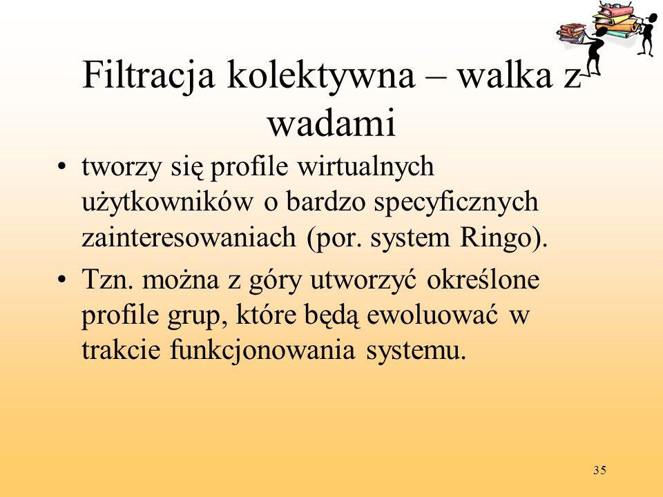 35 Filtracja kolektywna – walka z wadami tworzy się profile wirtualnych użytkowników o bardzo specyficznych zainteresowaniach (por. system Ringo). Tzn