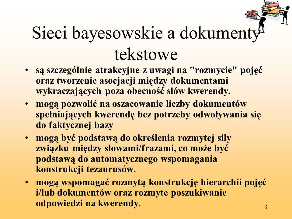 6 Sieci bayesowskie a dokumenty tekstowe są szczególnie atrakcyjne z uwagi na