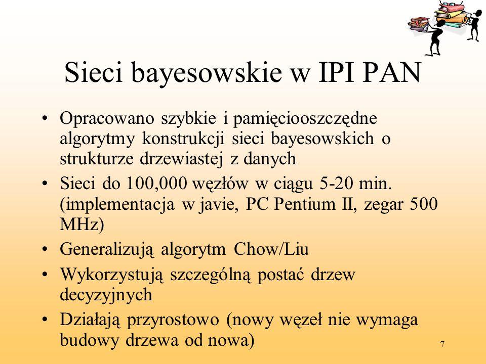 7 Sieci bayesowskie w IPI PAN Opracowano szybkie i pamięciooszczędne algorytmy konstrukcji sieci bayesowskich o strukturze drzewiastej z danych Sieci