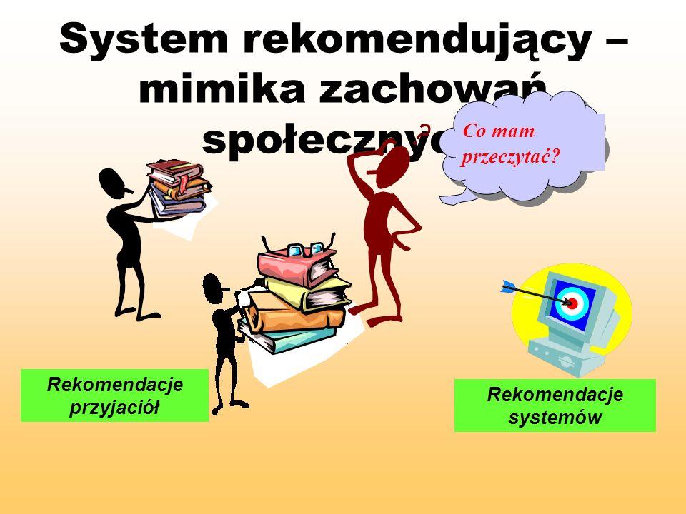 System rekomendujący – mimika zachowań społecznych Co mam przeczytać? Rekomendacje przyjaciół Rekomendacje systemów