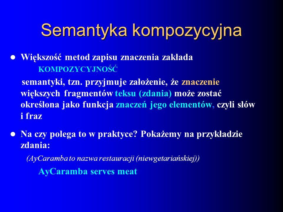Semantyka kompozycyjna Większość metod zapisu znaczenia zakłada KOMPOZYCYJNOŚĆ semantyki, tzn. przyjmuje założenie, że znaczenie większych fragmentów