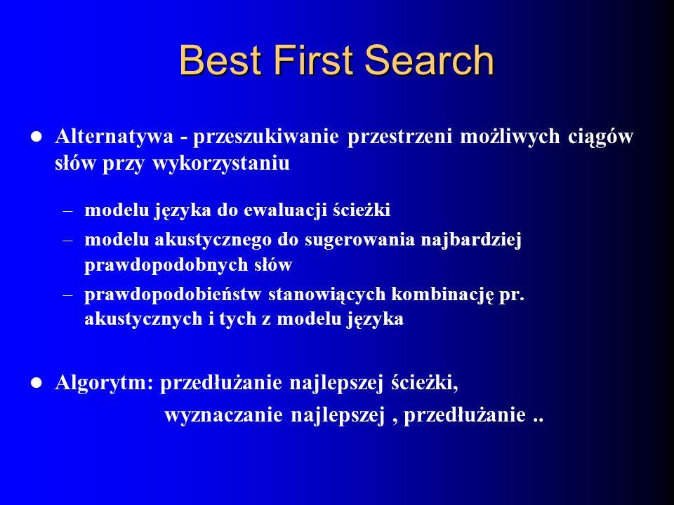 Best First Search Alternatywa - przeszukiwanie przestrzeni możliwych ciągów słów przy wykorzystaniu – modelu języka do ewaluacji ścieżki – modelu akus