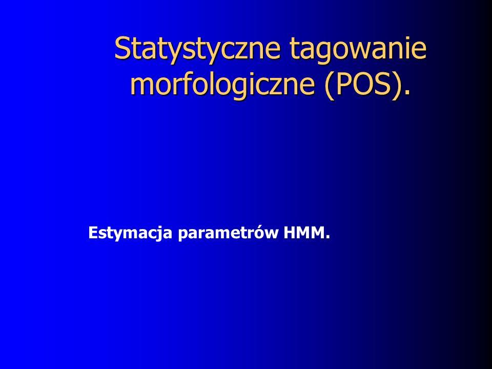 Statystyczne tagowanie morfologiczne (POS). Estymacja parametrów HMM.
