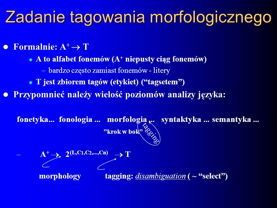 Zadanie tagowania morfologicznego Formalnie: A + T A to alfabet fonemów (A + niepusty ciąg fonemów) –bardzo często zamiast fonemów - litery T jest zbi