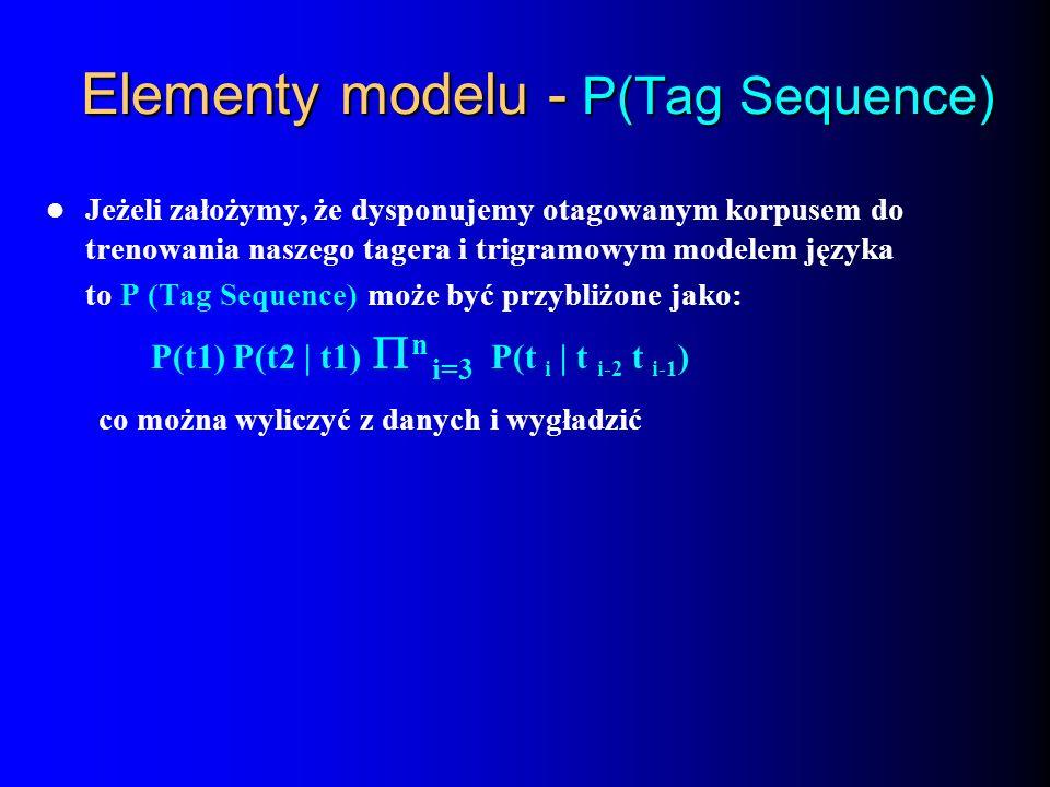 Elementy modelu - P(Tag Sequence) Jeżeli założymy, że dysponujemy otagowanym korpusem do trenowania naszego tagera i trigramowym modelem języka to P (