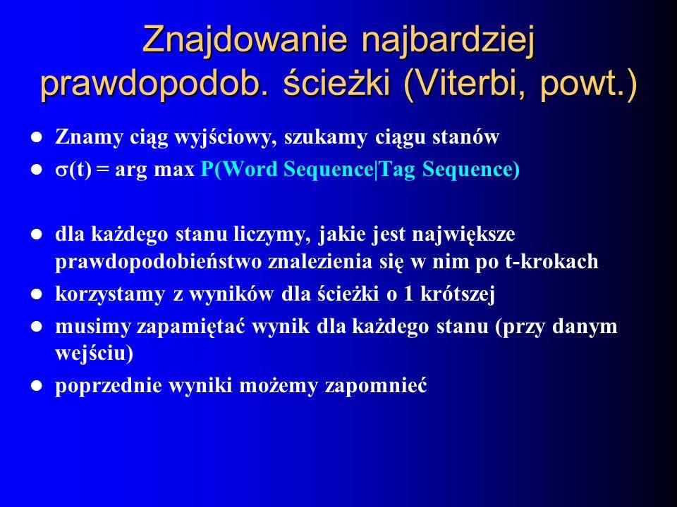 Znajdowanie najbardziej prawdopodob. ścieżki (Viterbi, powt.) Znamy ciąg wyjściowy, szukamy ciągu stanów (t) = arg max P(Word Sequence|Tag Sequence) d