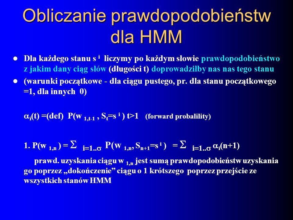 Obliczanie prawdopodobieństw dla HMM Dla każdego stanu s i liczymy po każdym słowie prawdopodobieństwo z jakim dany ciąg słów (długości t) doprowadził