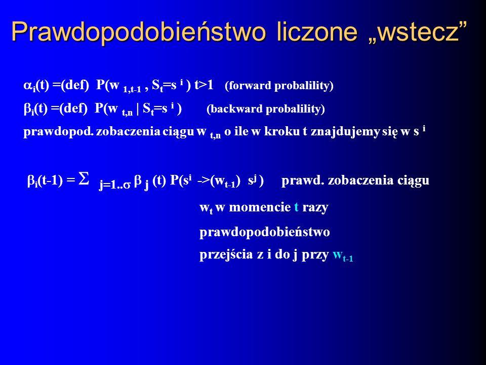 Prawdopodobieństwo liczone wstecz i (t) =(def) P(w 1,t-1, S t =s i ) t>1 (forward probalility) i (t) =(def) P(w t,n | S t =s i ) (backward probalility