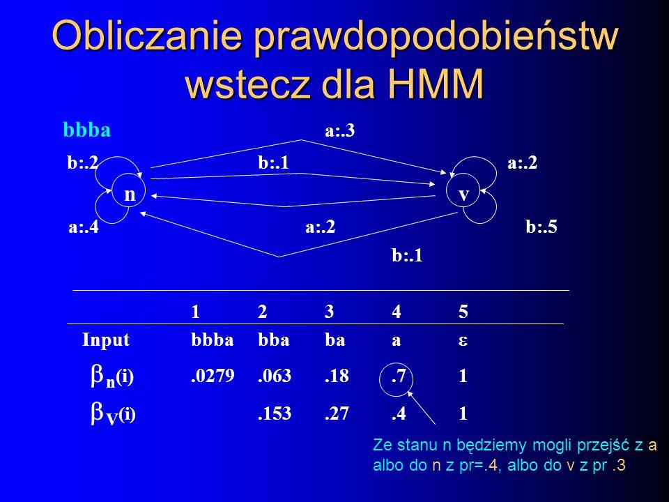 Obliczanie prawdopodobieństw wstecz dla HMM bbba a:.3 b:.2b:.1 a:.2 nv a:.4 a:.2b:.5 b:.1 12345 Inputbbbabbabaa n (i).0279.063.18.71 V (i).153.27.41 Z