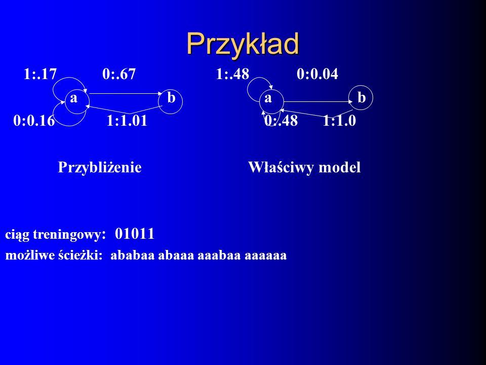 Przykład 1:.170:.67 1:.480:0.04 a b a b 0:0.16 1:1.01 0:.48 1:1.0 Przybliżenie Właściwy model ciąg treningowy : 01011 możliwe ścieżki: ababaa abaaa aa