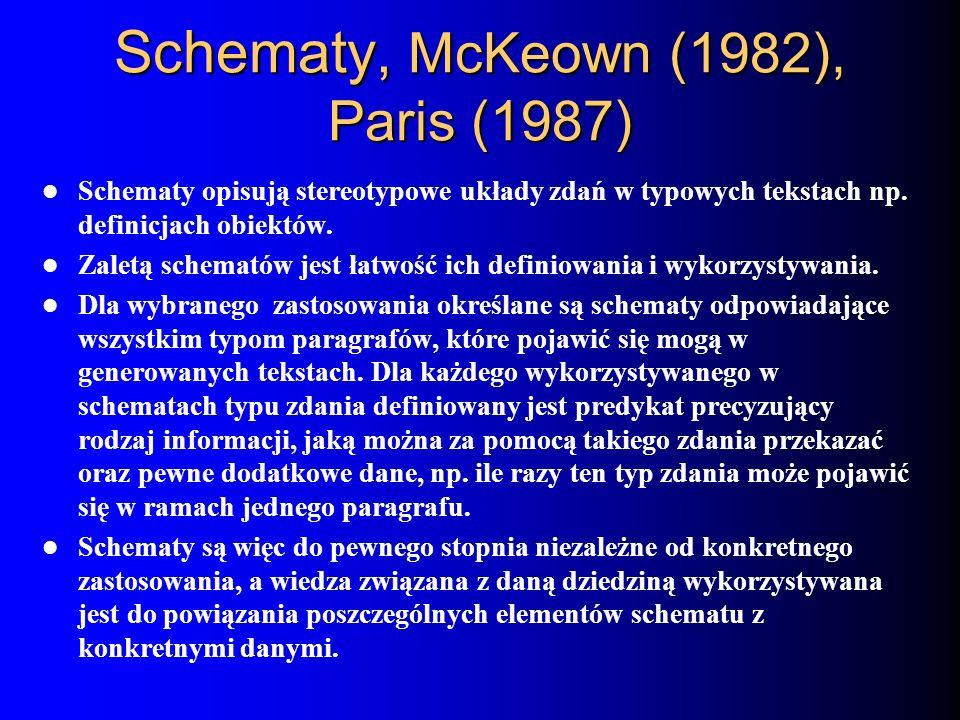 Schematy, McKeown (1982), Paris (1987) Schematy opisują stereotypowe układy zdań w typowych tekstach np. definicjach obiektów. Zaletą schematów jest ł