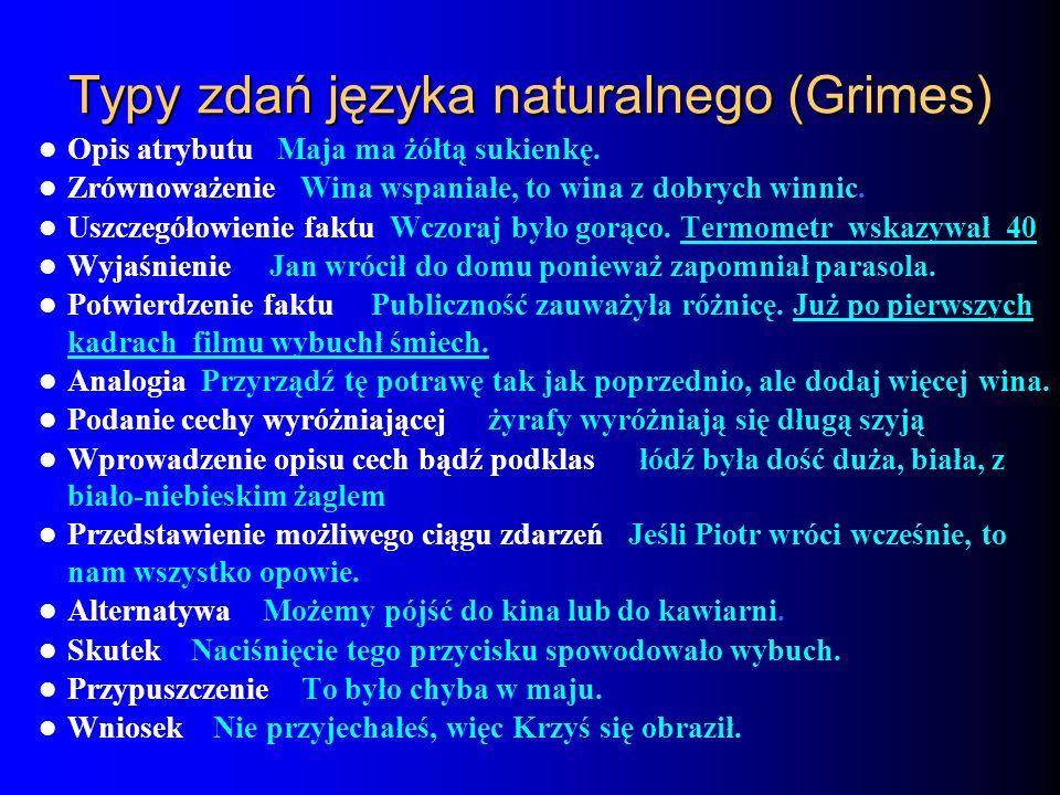 Typy zdań języka naturalnego (Grimes) Opis atrybutu Maja ma żółtą sukienkę. Zrównoważenie Wina wspaniałe, to wina z dobrych winnic. Uszczegółowienie f