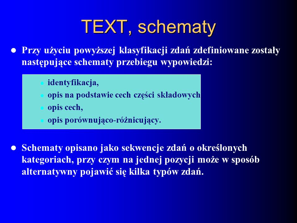 Przy użyciu powyższej klasyfikacji zdań zdefiniowane zostały następujące schematy przebiegu wypowiedzi: identyfikacja, opis na podstawie cech części s
