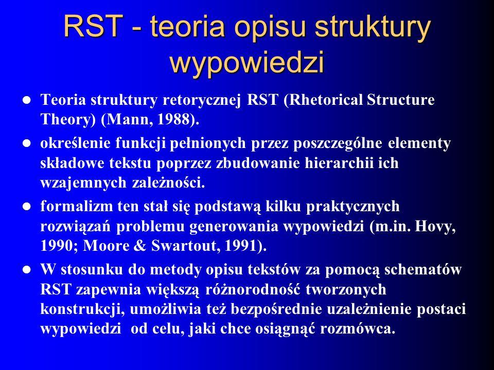 RST - teoria opisu struktury wypowiedzi Teoria struktury retorycznej RST (Rhetorical Structure Theory) (Mann, 1988). określenie funkcji pełnionych prz