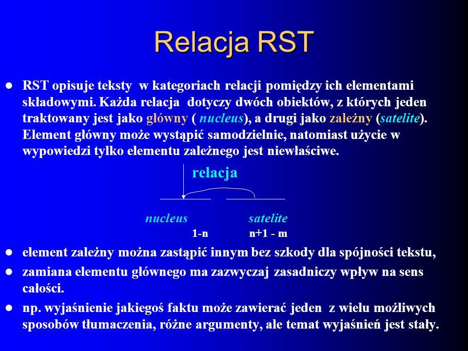 Relacja RST RST opisuje teksty w kategoriach relacji pomiędzy ich elementami składowymi. Każda relacja dotyczy dwóch obiektów, z których jeden traktow