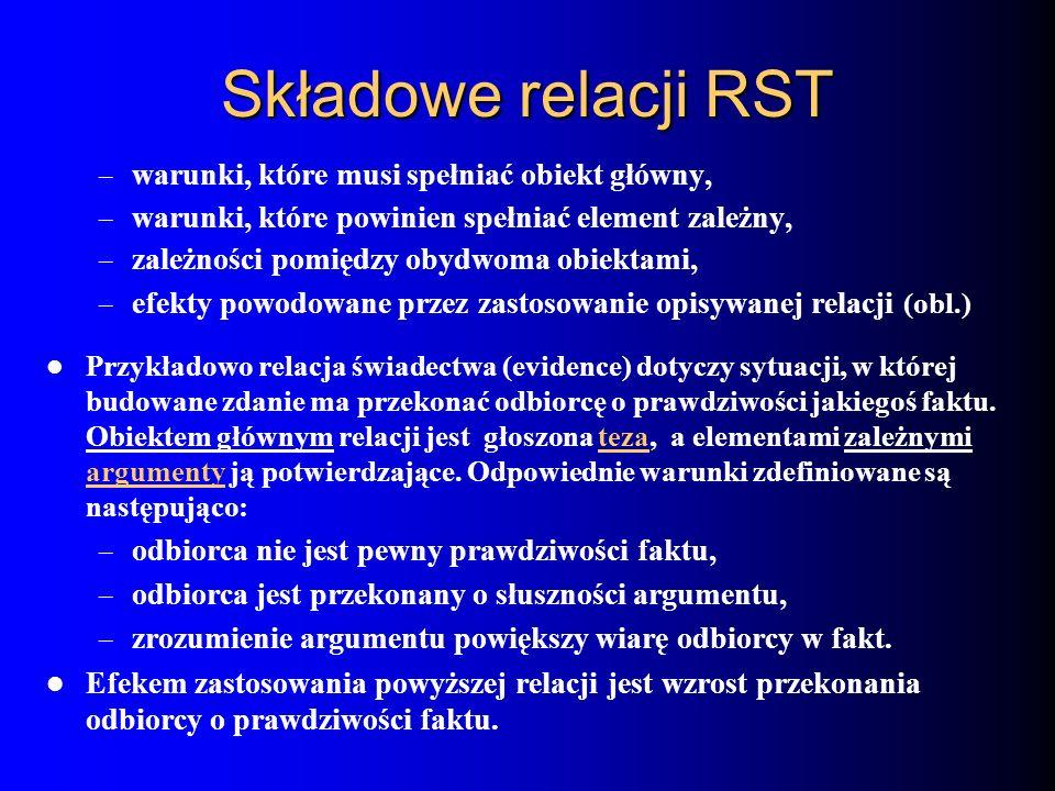 Składowe relacji RST – warunki, które musi spełniać obiekt główny, – warunki, które powinien spełniać element zależny, – zależności pomiędzy obydwoma