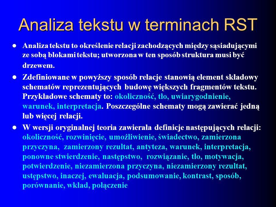 Analiza tekstu w terminach RST Analiza tekstu to określenie relacji zachodzących między sąsiadującymi ze sobą blokami tekstu; utworzona w ten sposób s