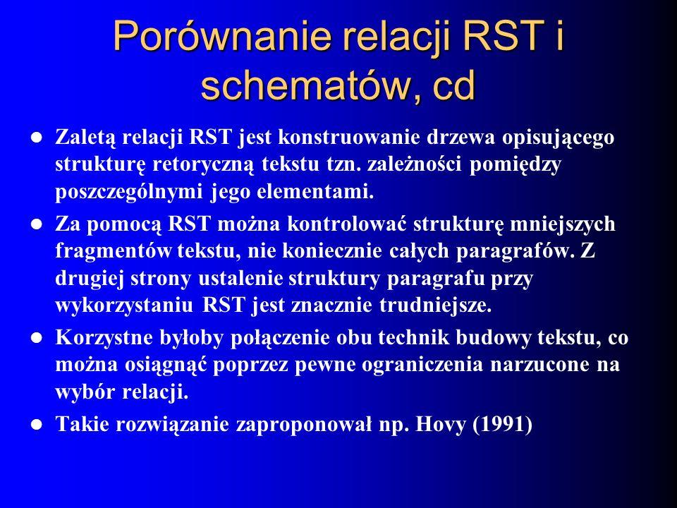 Porównanie relacji RST i schematów, cd Zaletą relacji RST jest konstruowanie drzewa opisującego strukturę retoryczną tekstu tzn. zależności pomiędzy p