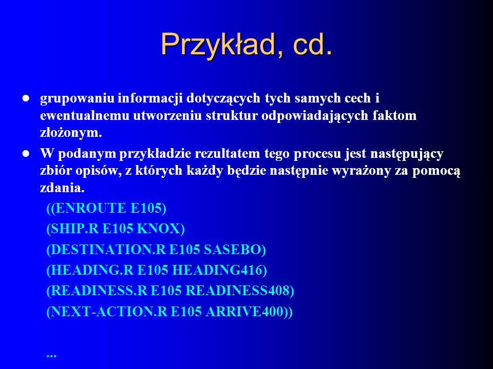 Przykład, cd. grupowaniu informacji dotyczących tych samych cech i ewentualnemu utworzeniu struktur odpowiadających faktom złożonym. W podanym przykła