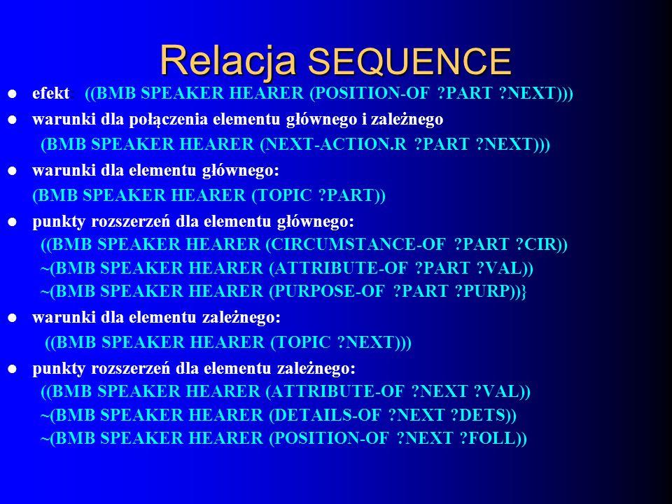 Relacja SEQUENCE efekt: ((BMB SPEAKER HEARER (POSITION-OF ?PART ?NEXT))) warunki dla połączenia elementu głównego i zależnego: (BMB SPEAKER HEARER (NE