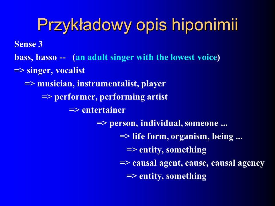 Przykładowy opis hiponimii Sense 3 bass, basso -- (an adult singer with the lowest voice) => singer, vocalist => musician, instrumentalist, player =>